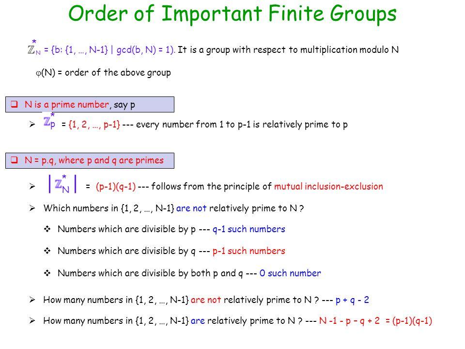Order of Important Finite Groups  N is a prime number, say p N = {b: {1, …, N-1} | gcd(b, N) = 1).