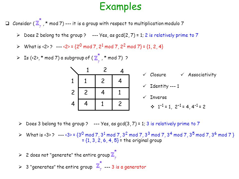 Examples  Consider (, * mod 7) --- it is a group with respect to multiplication modulo 7  Ex: Consider the group (, * mod 8) --- = {1, 3, 5, 7} 7 *  Does 2 belong to the group .