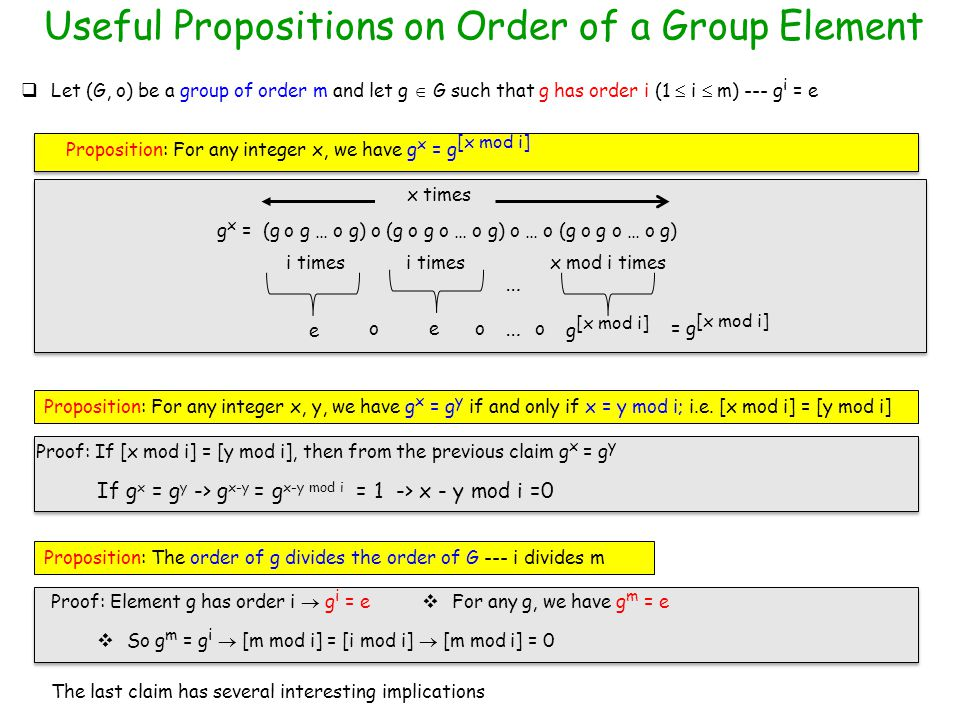 Useful Propositions on Order of a Group Element  Let (G, o) be a group of order m and let g  G such that g has order i (1  i  m) --- g i = e Proposition: For any integer x, we have g x = g [x mod i] g x = (g o g … o g) o (g o g o … o g) o … o (g o g o … o g) x times i times x mod i times e e g [x mod i] ooo … = g [x mod i] … Proposition: For any integer x, y, we have g x = g y if and only if x = y mod i; i.e.