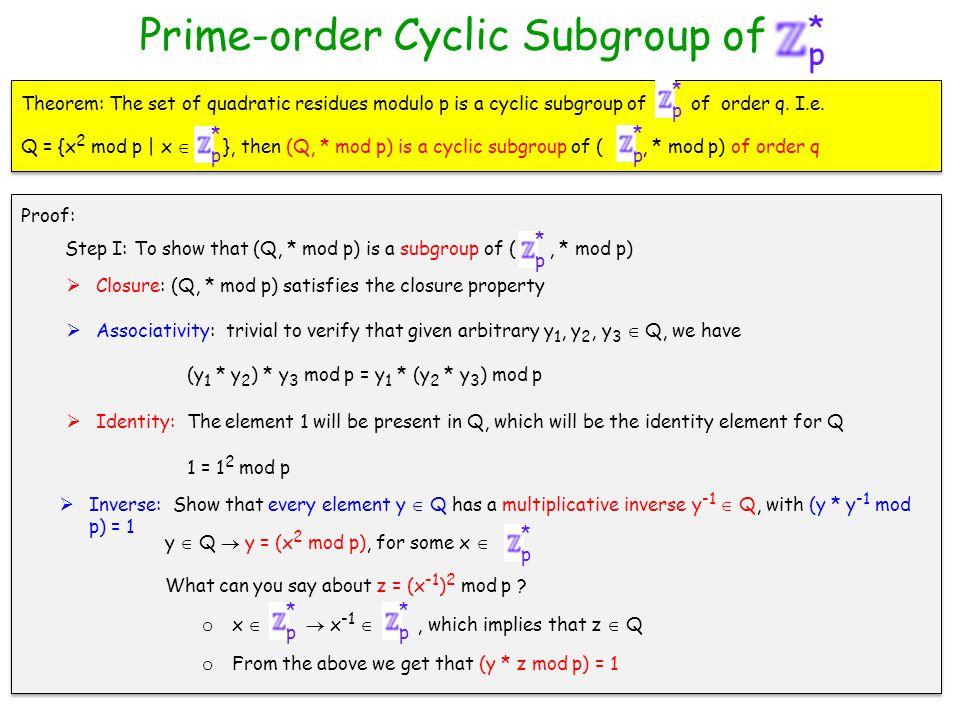 p * Prime-order Cyclic Subgroup of  Closure: (Q, * mod p) satisfies the closure property Theorem: The set of quadratic residues modulo p is a cyclic subgroup of of order q.