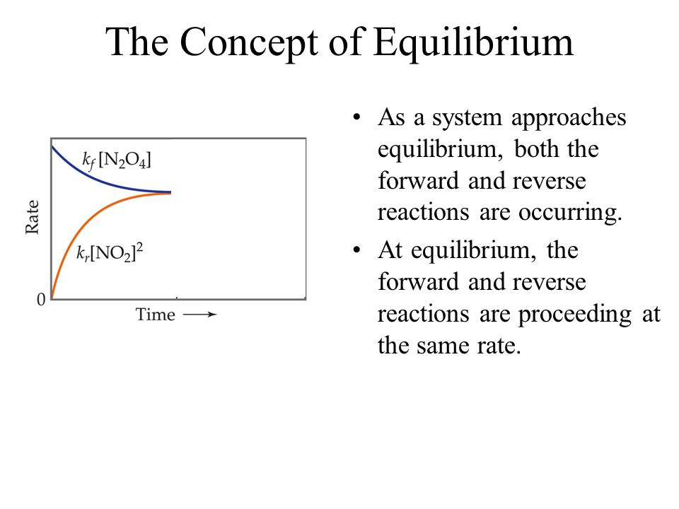 The Concept of Equilibrium As a system approaches equilibrium, both the forward and reverse reactions are occurring.