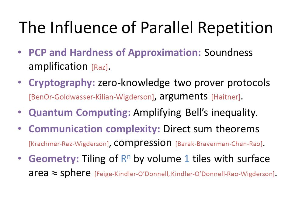 The Influence of Parallel Repetition PCP and Hardness of Approximation: Soundness amplification [Raz].