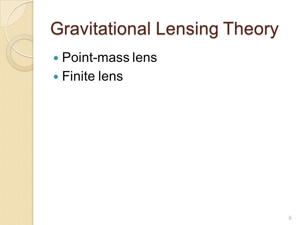 Point Mass (Schwarzschild) Lens Lens (Ray-trace) equation ◦ 11 ◦ 1 9 θ S : lens-source angular distance α : deflection angle of light ray θ 1,2 : lens-img angular distances b : lens-deflection pt angular dist.