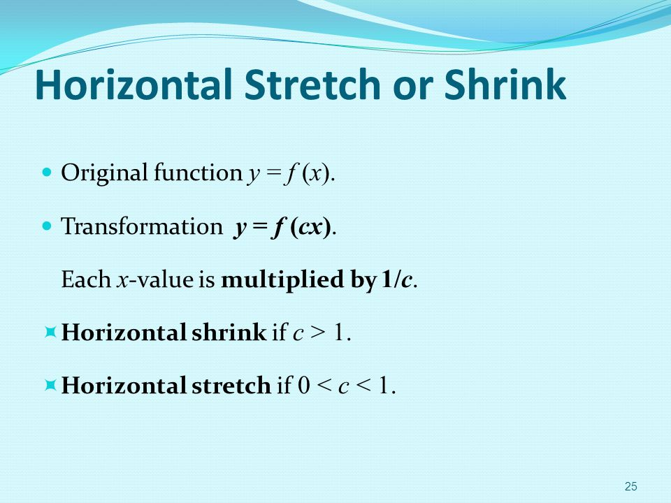 Horizontal Stretch or Shrink Original function y = f (x). Transformation y = f (cx). Each x -value is multiplied by 1/c.  Horizontal shrink if c > 1.