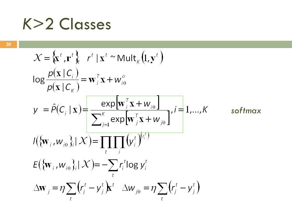 K>2 Classes 20 softmax