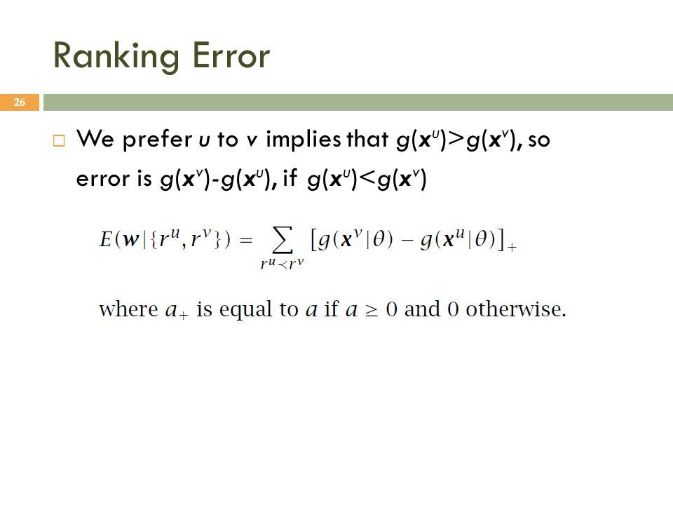Ranking Error 26  We prefer u to v implies that g(x u )>g(x v ), so error is g(x v )-g(x u ), if g(x u )<g(x v )