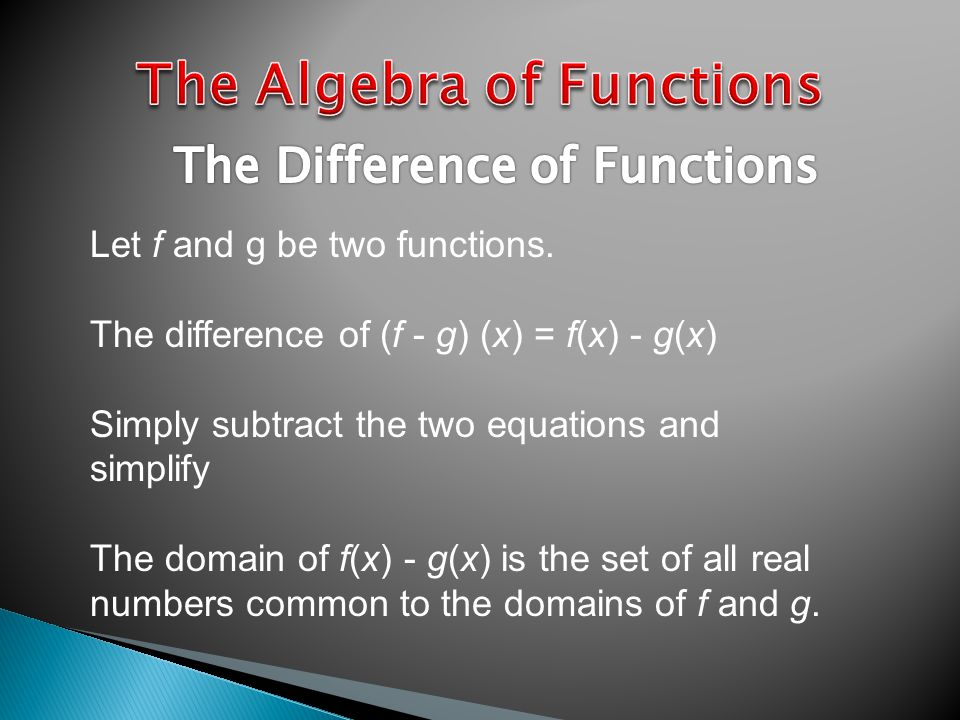 Let f and g be two functions.
