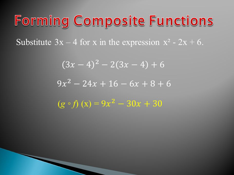 Substitute 3x – 4 for x in the expression x² - 2x + 6.