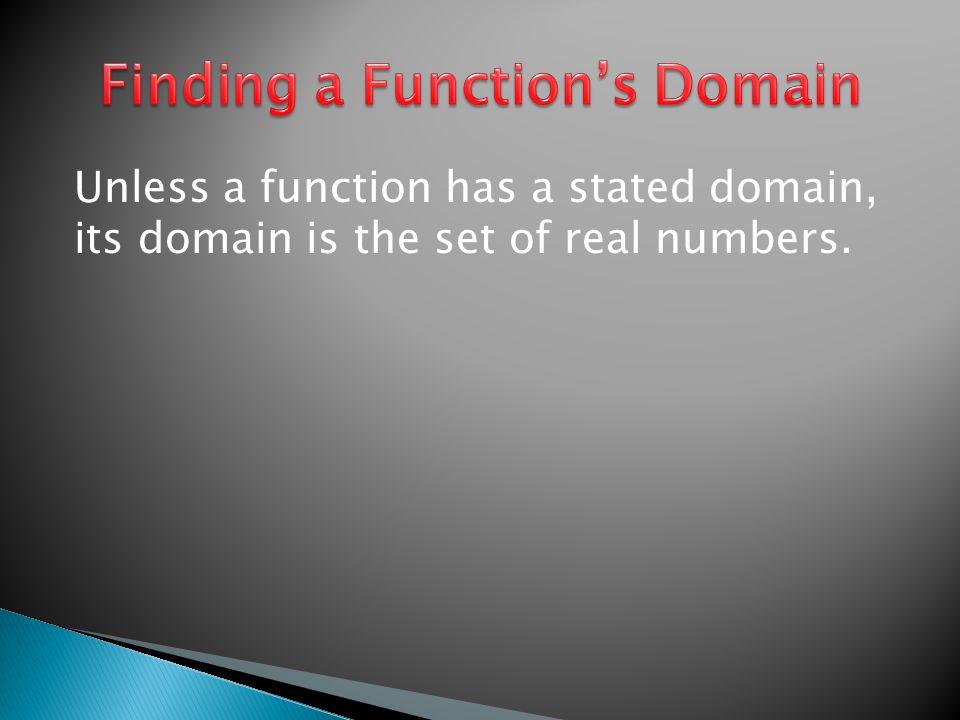 Unless a function has a stated domain, its domain is the set of real numbers.
