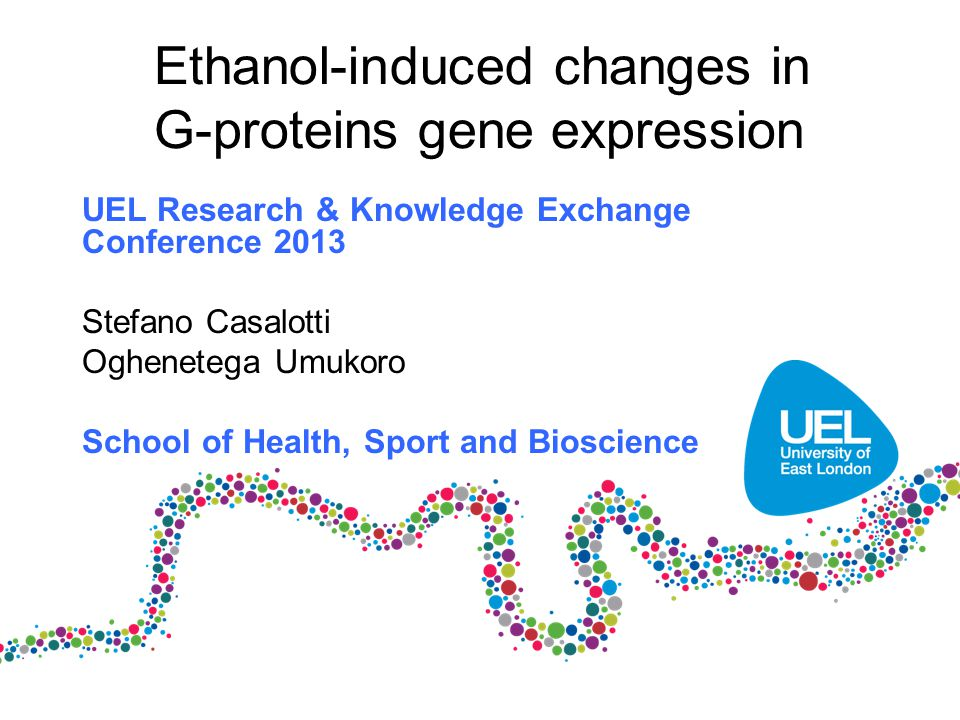 Ethanol-induced changes in G-proteins gene expression UEL Research & Knowledge Exchange Conference 2013 Stefano Casalotti Oghenetega Umukoro School of Health, Sport and Bioscience