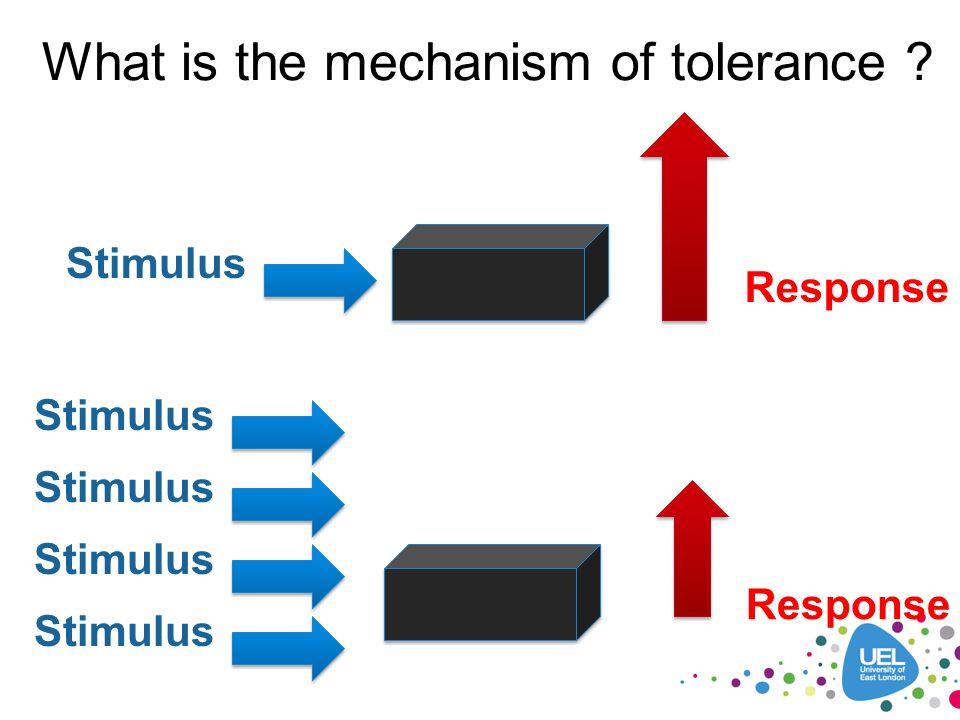 What is the mechanism of tolerance ? Stimulus Response Stimulus Response