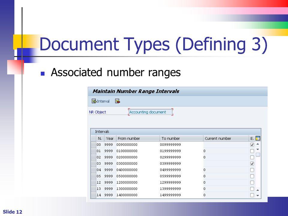 Slide 12 Document Types (Defining 3) Associated number ranges