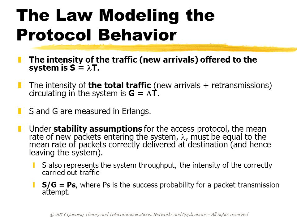 The Law Modeling the Protocol Behavior  The intensity of the traffic (new arrivals) offered to the system is S = T.  The intensity of the total traf