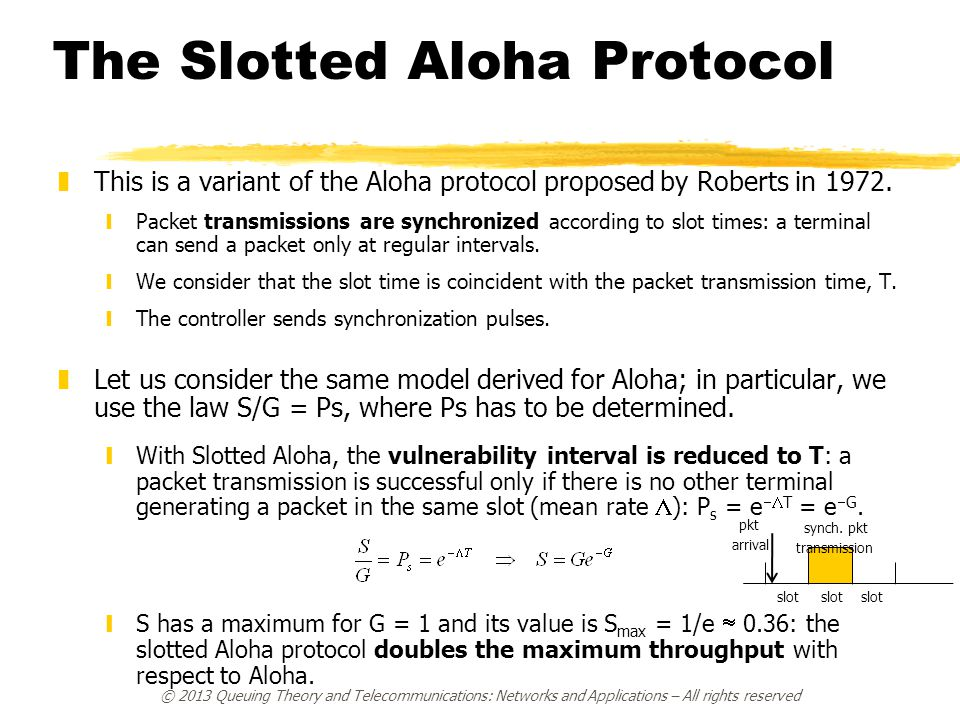 © 2013 Queuing Theory and Telecommunications: Networks and Applications – All rights reserved The Slotted Aloha Protocol zThis is a variant of the Alo
