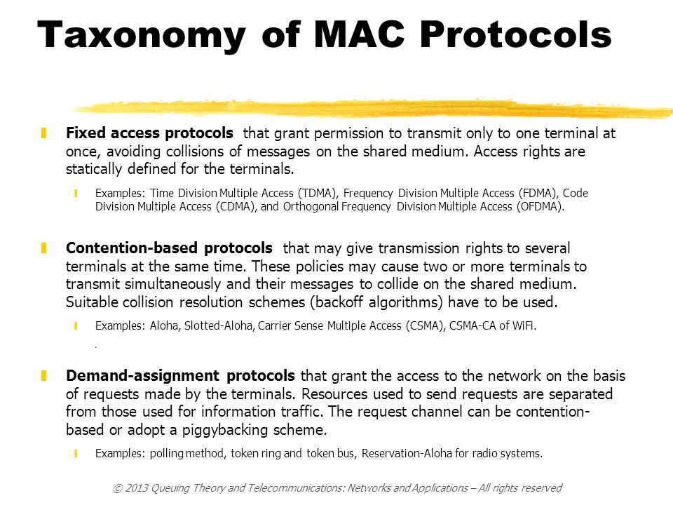 © 2013 Queuing Theory and Telecommunications: Networks and Applications – All rights reserved Taxonomy of MAC Protocols zFixed access protocols that g