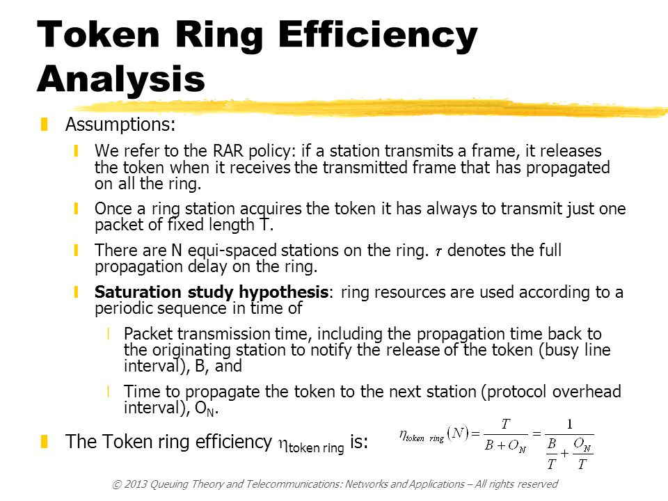 © 2013 Queuing Theory and Telecommunications: Networks and Applications – All rights reserved Token Ring Efficiency Analysis zAssumptions: yWe refer t