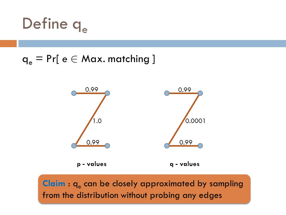 Define q e q e = Pr[ e 2 Max. matching ] 0.99 1.0 0.99 0.0001 q - valuesp - values Claim : q e can be closely approximated by sampling from the distri