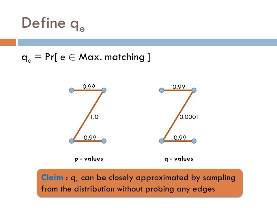 Define q e q e = Pr[ e 2 Max.