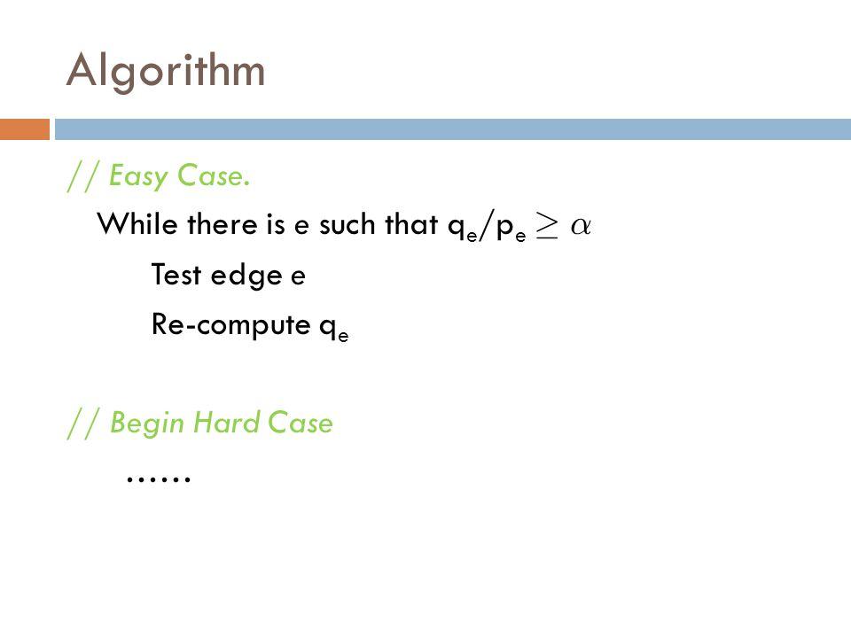 Algorithm // Easy Case. While there is e such that q e /p e ¸ ® Test edge e Re-compute q e // Begin Hard Case ……