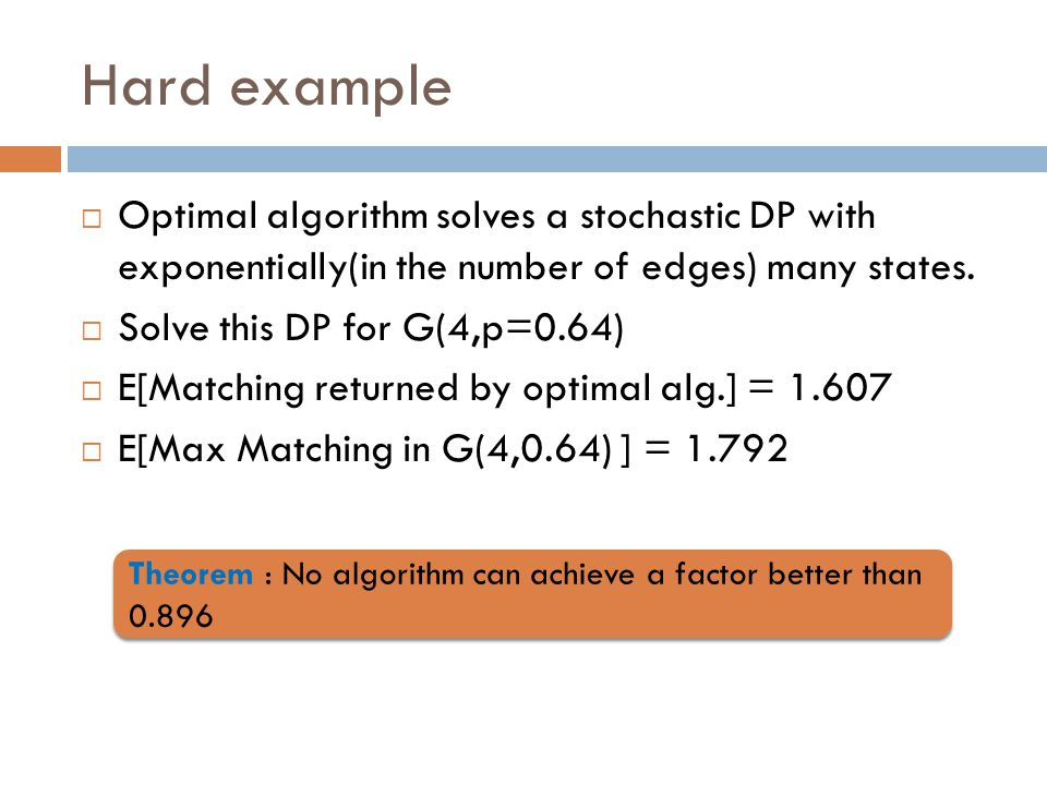 Hard example  Optimal algorithm solves a stochastic DP with exponentially(in the number of edges) many states.  Solve this DP for G(4,p=0.64)  E[Ma
