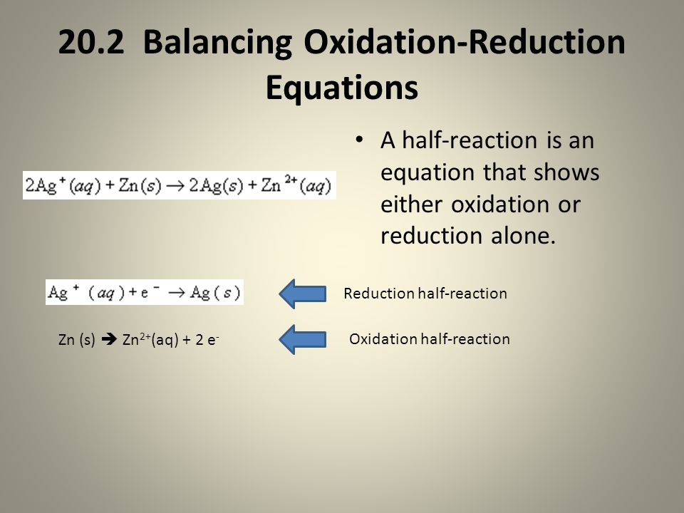 20.2 Balancing Oxidation-Reduction Equations A half-reaction is an equation that shows either oxidation or reduction alone.