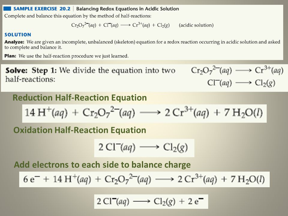 Reduction Half-Reaction Equation Oxidation Half-Reaction Equation Add electrons to each side to balance charge
