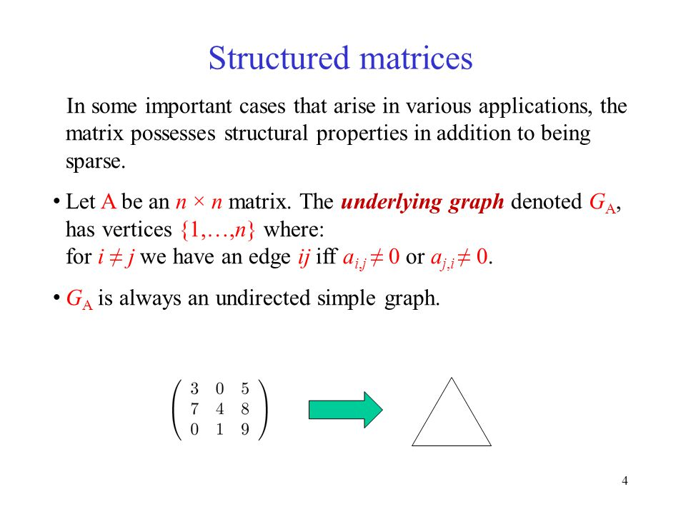 4 Structured matrices In some important cases that arise in various applications, the matrix possesses structural properties in addition to being sparse.