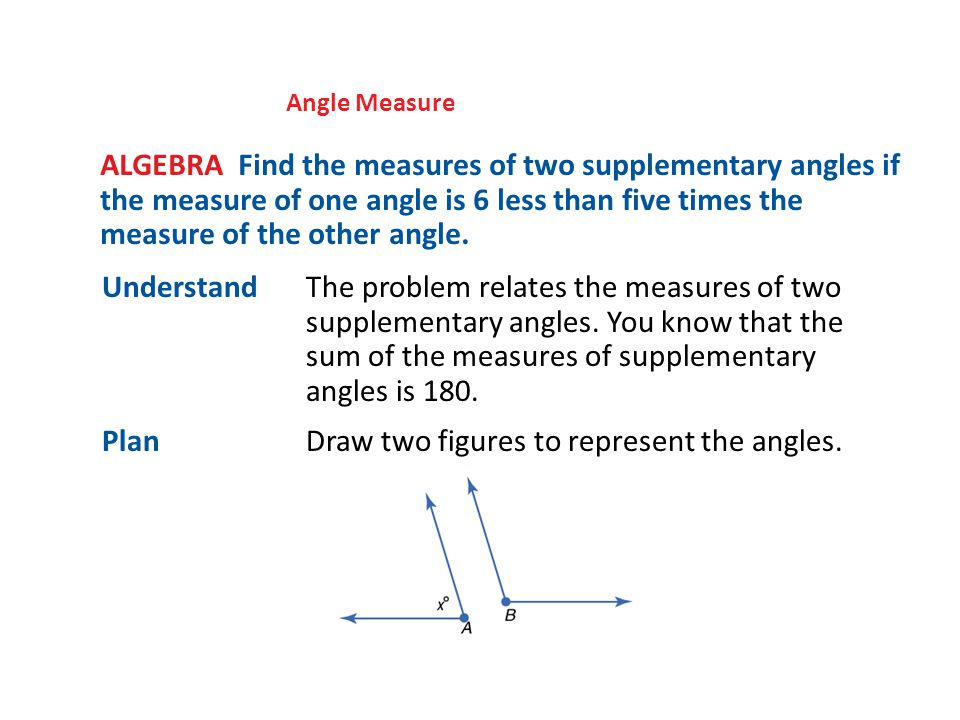 Angle Measure ALGEBRA Find the measures of two supplementary angles if the measure of one angle is 6 less than five times the measure of the other angle.