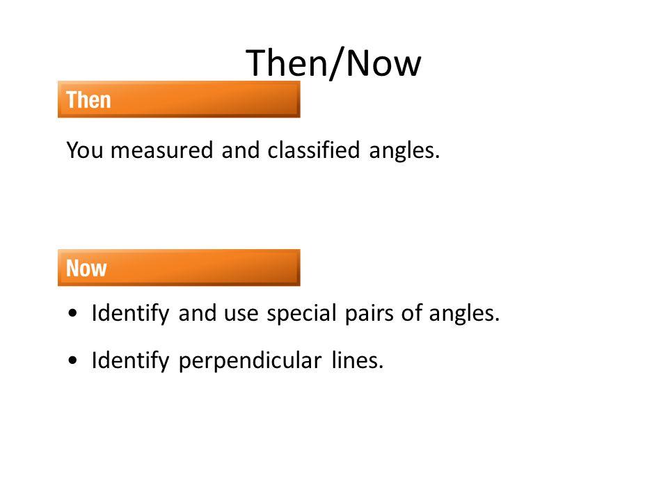 Vocabulary adjacent angles linear pair vertical angles complementary angles supplementary angles perpendicular