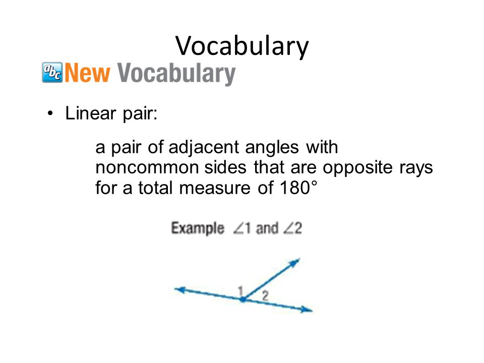 Vocabulary Vertical angles: two nonadjacent angles formed by two intersecting linesthat have equal measure