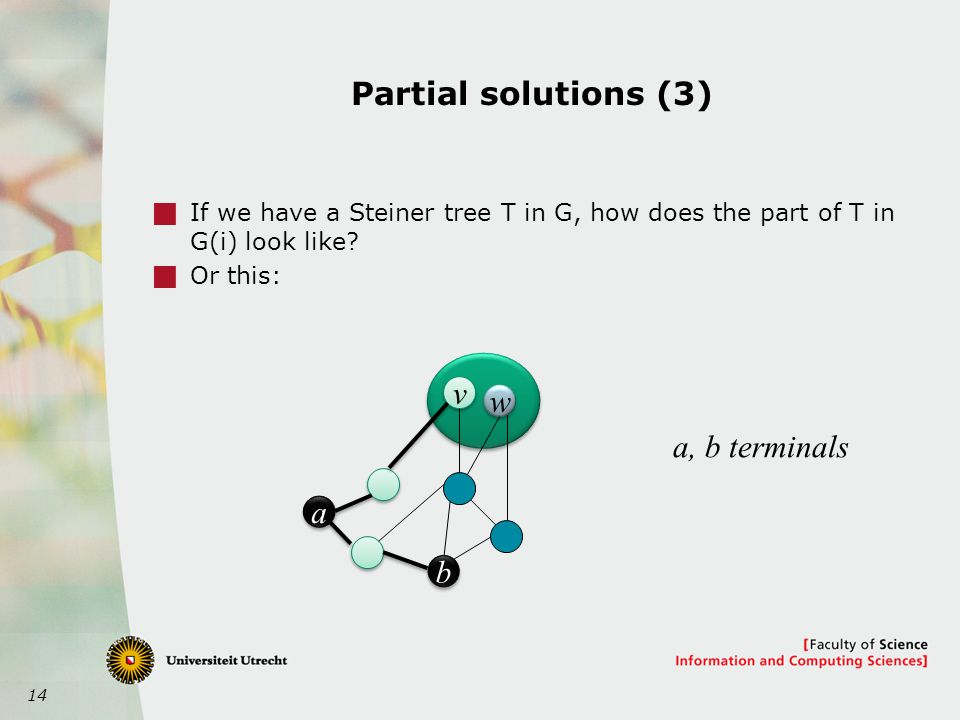 14 Partial solutions (3)  If we have a Steiner tree T in G, how does the part of T in G(i) look like.