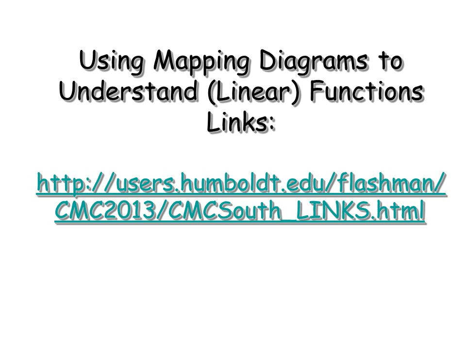 Using Mapping Diagrams to Understand (Linear) Functions Links: http://users.humboldt.edu/flashman/ CMC2013/CMCSouth_LINKS.html http://users.humboldt.edu/flashman/ CMC2013/CMCSouth_LINKS.html http://users.humboldt.edu/flashman/ CMC2013/CMCSouth_LINKS.html Using Mapping Diagrams to Understand (Linear) Functions Links: http://users.humboldt.edu/flashman/ CMC2013/CMCSouth_LINKS.html http://users.humboldt.edu/flashman/ CMC2013/CMCSouth_LINKS.html http://users.humboldt.edu/flashman/ CMC2013/CMCSouth_LINKS.html