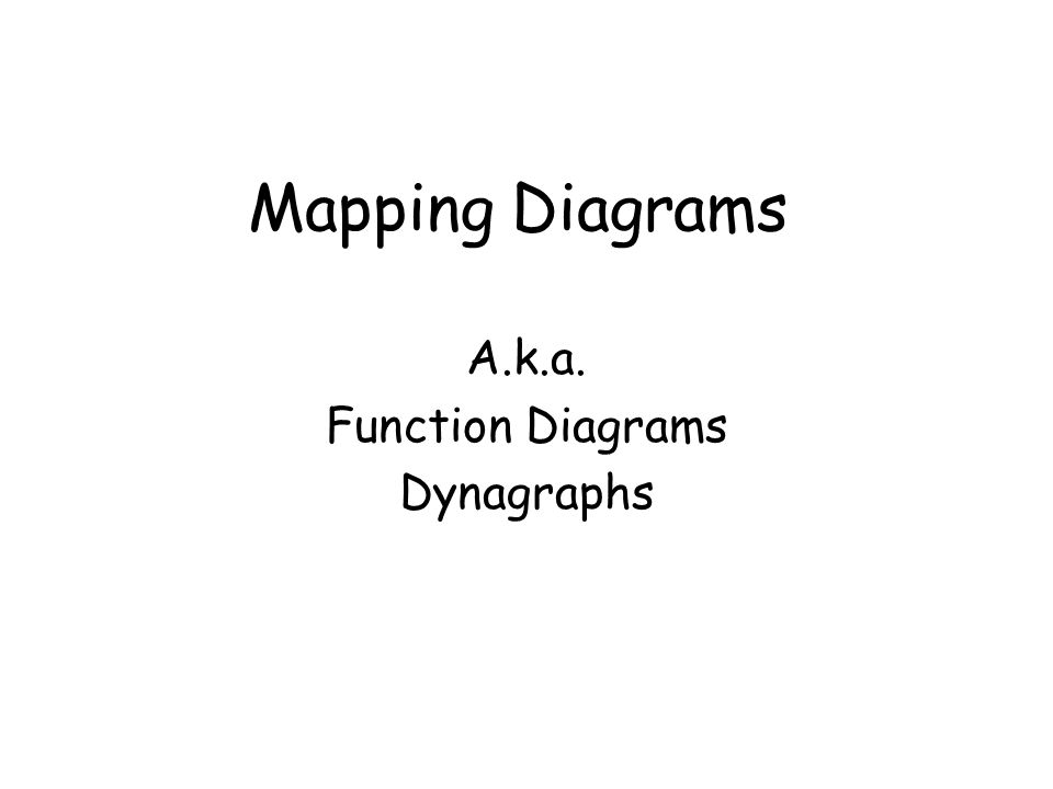 Mapping Diagrams A.k.a. Function Diagrams Dynagraphs