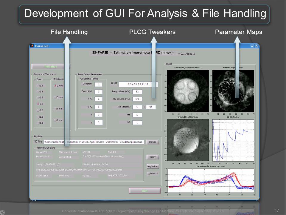 Development of GUI For Analysis & File Handling File HandlingPLCG TweakersParameter Maps 17 University of Alabama at Birmingham, Department of Psychology, Lab Meeting Presentation, September 3 rd 2009