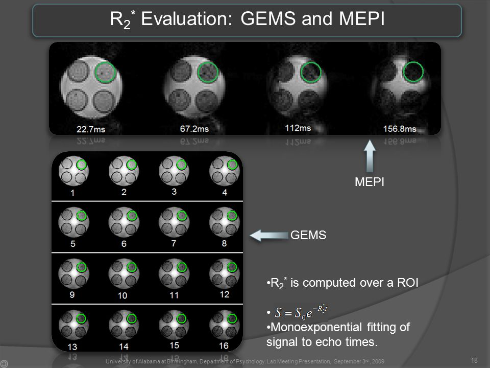 R 2 * Evaluation: GEMS and MEPI R 2 * is computed over a ROI Monoexponential fitting of signal to echo times.