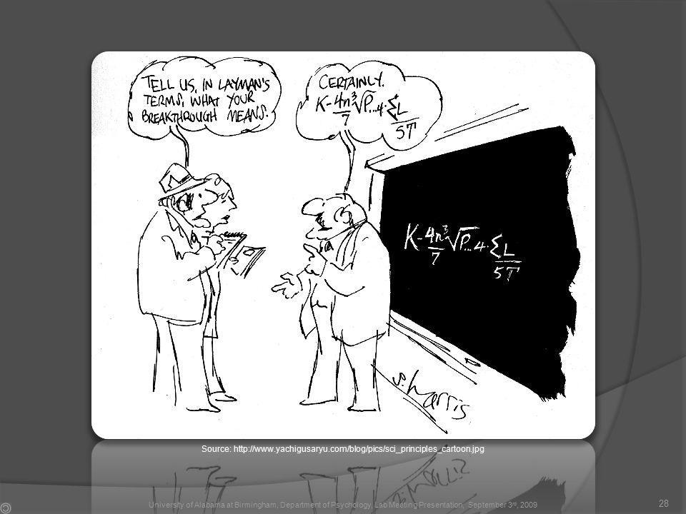 Source: http://www.yachigusaryu.com/blog/pics/sci_principles_cartoon.jpg 28 University of Alabama at Birmingham, Department of Psychology, Lab Meeting Presentation, September 3 rd, 2009