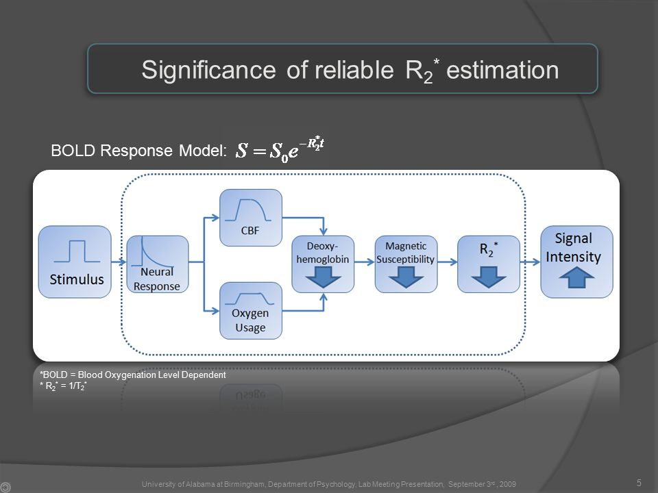 BOLD Response Model: Significance of reliable R 2 * estimation 5 *BOLD = Blood Oxygenation Level Dependent * R 2 * = 1/T 2 * University of Alabama at Birmingham, Department of Psychology, Lab Meeting Presentation, September 3 rd, 2009