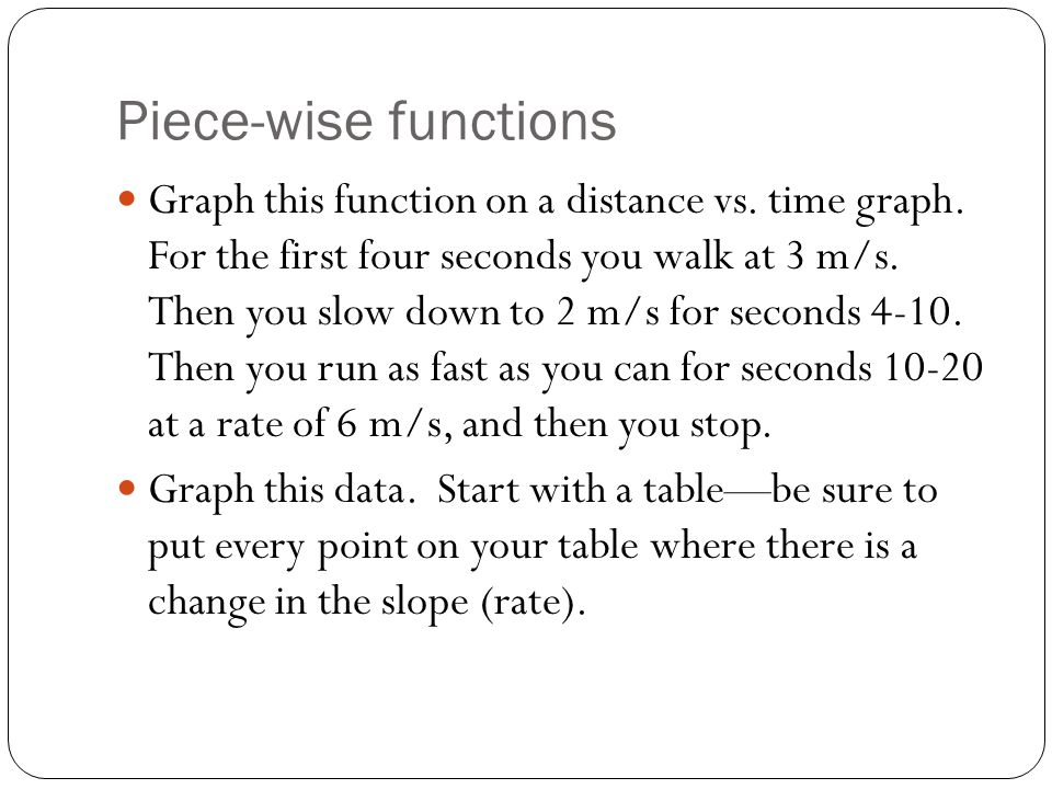 Piece-wise functions Graph this function on a distance vs.