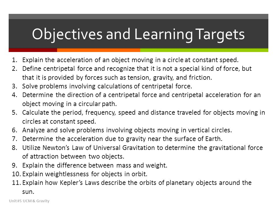 Objectives and Learning Targets Unit #5 UCM & Gravity 1.Explain the acceleration of an object moving in a circle at constant speed. 2.Define centripet