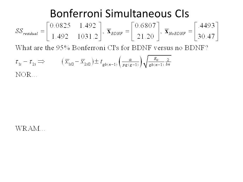 Bonferroni Simultaneous CIs
