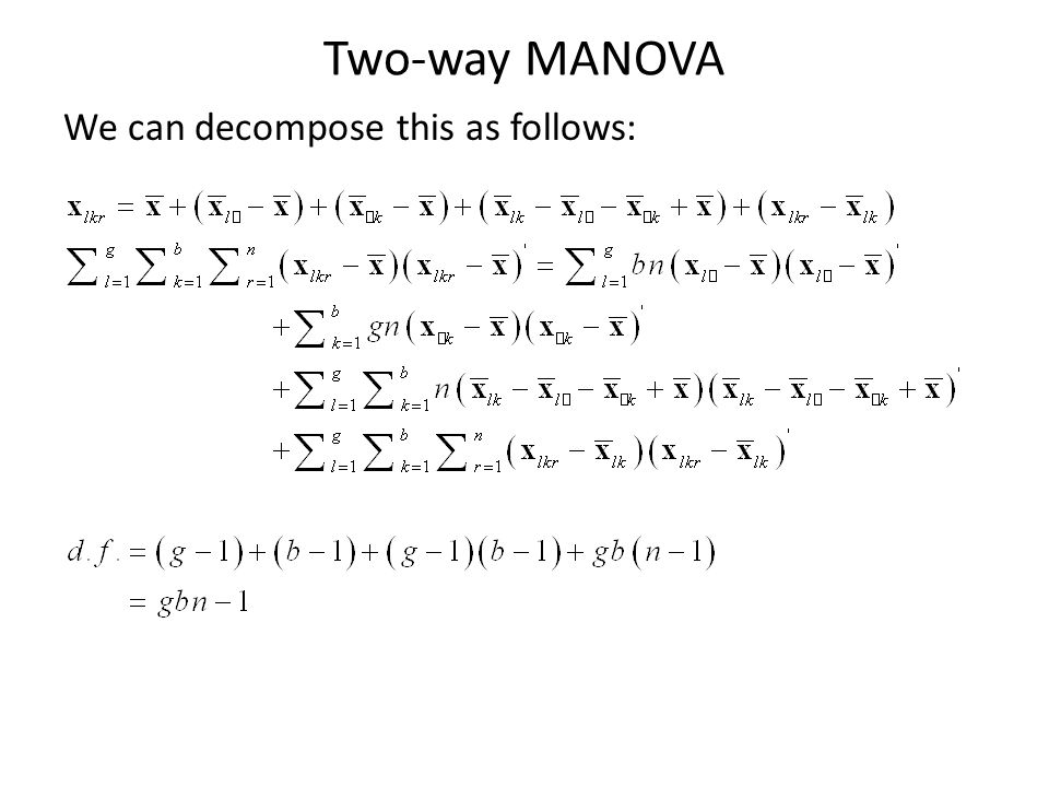 Two-way MANOVA We can decompose this as follows: