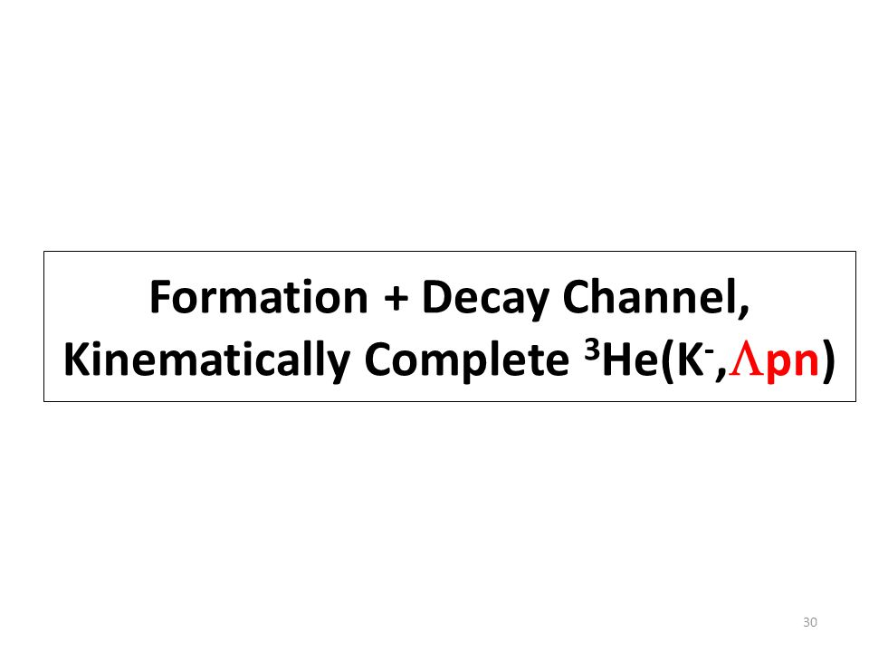 Formation + Decay Channel, Kinematically Complete 3 He(K -,  pn) 30