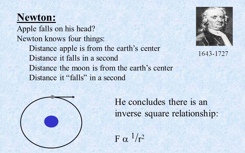 Newton: Apple falls on his head.