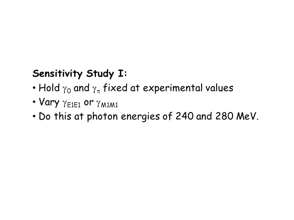 Sensitivity Study I: Hold  0 and   fixed at experimental values Vary  E1E1 or  M1M1 Do this at photon energies of 240 and 280 MeV.
