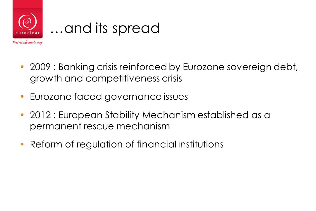 …and its spread 2009 : Banking crisis reinforced by Eurozone sovereign debt, growth and competitiveness crisis Eurozone faced governance issues 2012 : European Stability Mechanism established as a permanent rescue mechanism Reform of regulation of financial institutions