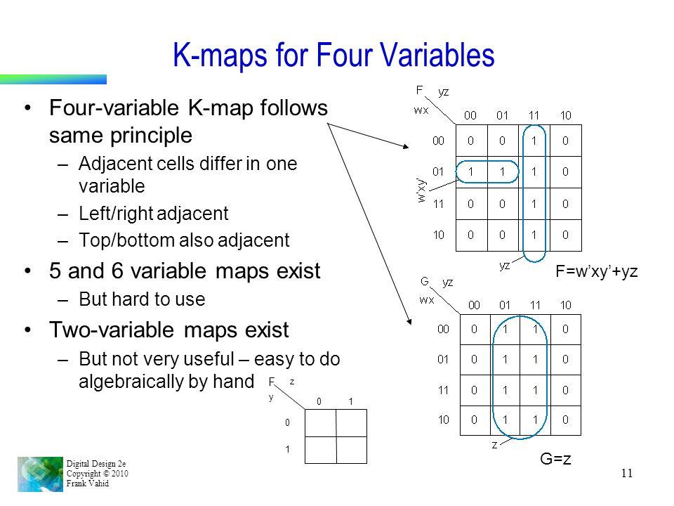 Digital Design 2e Copyright © 2010 Frank Vahid 11 K-maps for Four Variables Four-variable K-map follows same principle –Adjacent cells differ in one v