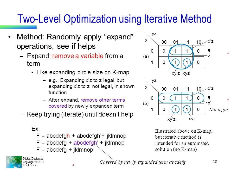 "Digital Design 2e Copyright © 2010 Frank Vahid 28 Two-Level Optimization using Iterative Method Method: Randomly apply ""expand"" operations, see if hel"