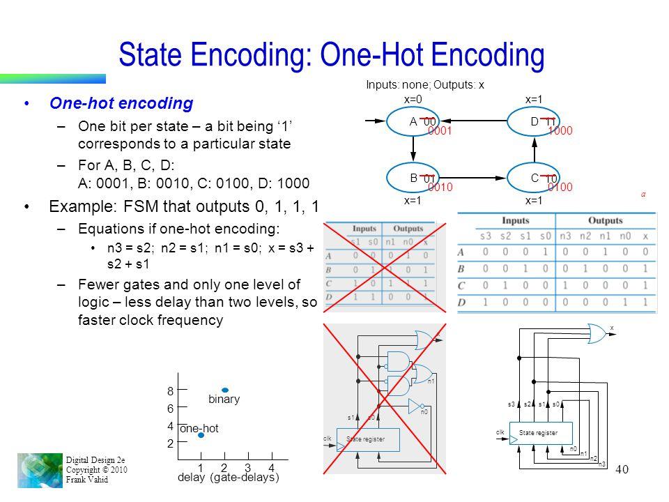 Digital Design 2e Copyright © 2010 Frank Vahid 40 State Encoding: One-Hot Encoding One-hot encoding –One bit per state – a bit being '1' corresponds t