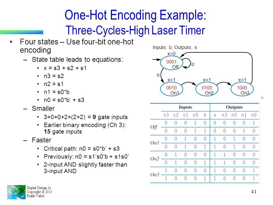 Digital Design 2e Copyright © 2010 Frank Vahid 41 One-Hot Encoding Example: Three-Cycles-High Laser Timer Four states – Use four-bit one-hot encoding