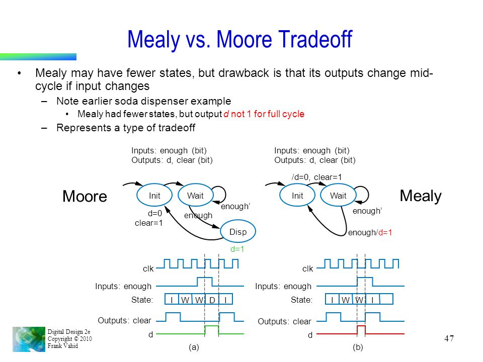 Digital Design 2e Copyright © 2010 Frank Vahid 47 Mealy vs. Moore Tradeoff Mealy may have fewer states, but drawback is that its outputs change mid- c